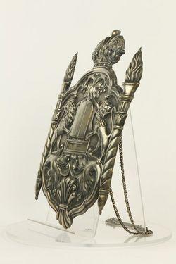 Štít na Tóru, s fragm. retiazky, postr. mosadz - A00019